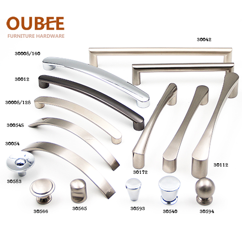 Brushed nickel Kitchen cabinet handles,Antique drawer pulls,Round cabient knobs from China handle supplier