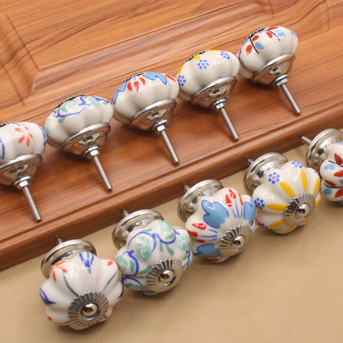 Factory supply handmade painted ceramic cabinet drawer knobs and handles